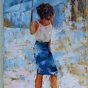 Картины и панно ручной работы. Ярмарка Мастеров - ручная работа Картина  Девушка и дождь  картины. Handmade.