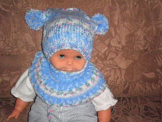 Шапки и шарфы ручной работы. Ярмарка Мастеров - ручная работа. Купить вязаная детская шапочка и воротник. Handmade. Вязание спицами