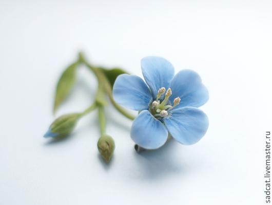 Броши ручной работы. Ярмарка Мастеров - ручная работа. Купить Брошь с цветком льна из полимерной глины. Handmade. Голубой
