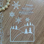 Материалы для творчества handmade. Livemaster - original item !Cutting for scrapbooking - Snowflakes, Branches the NEW YEAR from a design cardboard. Handmade.