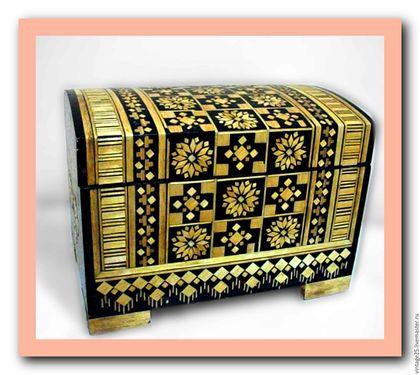Винтажные предметы интерьера. Ярмарка Мастеров - ручная работа. Купить Сундук для драгоценностей. Handmade. Комбинированный, старинный сундук