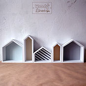 Для дома и интерьера ручной работы. Ярмарка Мастеров - ручная работа Полка из домиков Сканди. Handmade.