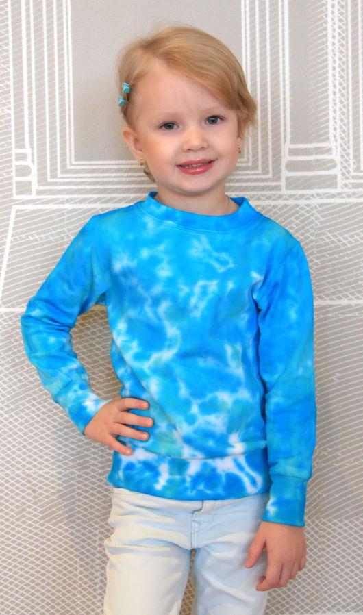 """Одежда унисекс ручной работы. Ярмарка Мастеров - ручная работа. Купить Детский свитшот """"Небушко"""". Handmade. Бирюзовый, свитшот купить"""