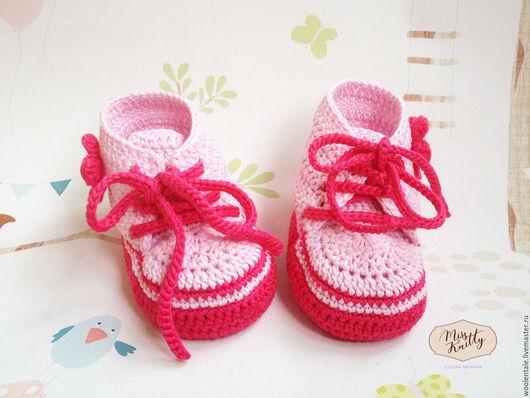 Пинетки кеды розовые вязаные крючком для девочки купить, пинетки купить, пинетки кеды, кедики, кеды вязаные, пинетки вязаные, детская вязаная обувь, детская обувь, пинетки вязаные для новорожденных