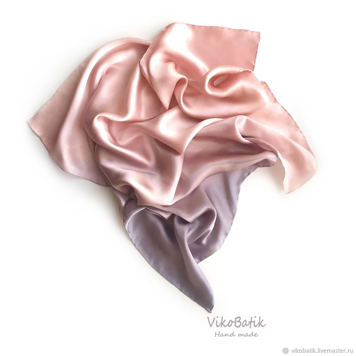 """Шёлковый платок """"Розовый жемчуг""""шёлк 100% пыльно розовый, Платки, Кисловодск,  Фото №1"""