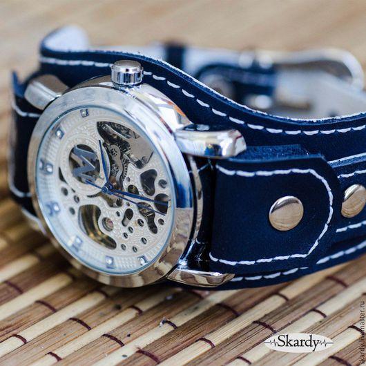 """Часы ручной работы. Ярмарка Мастеров - ручная работа. Купить Наручные часы """"Blue sky"""". Handmade. Тёмно-синий, скелетон"""
