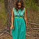 """Платья ручной работы. Ярмарка Мастеров - ручная работа. Купить Платье """"Бирюза"""". Handmade. Бирюзовый, хлопок, Коктейльное платье"""