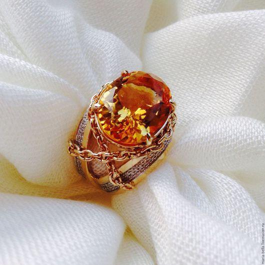 Кольца ручной работы. Ярмарка Мастеров - ручная работа. Купить Donatella. Золотое кольцо с цитрином и бриллиантами. Handmade. Золотой