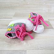 Работы для детей, handmade. Livemaster - original item booties crochet booties shoes for baby girl gift for birth. Handmade.