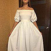 Одежда ручной работы. Ярмарка Мастеров - ручная работа Белое платье с открытыми плечами и вышевкой. Handmade.