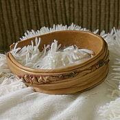 Украшения handmade. Livemaster - original item The bezel is made of leather with gems