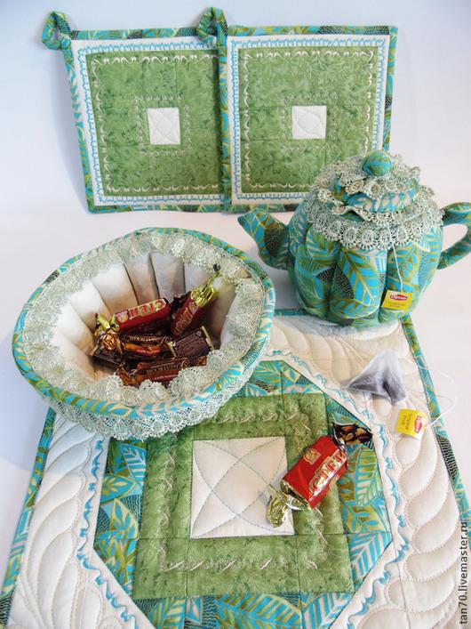 """Кухня ручной работы. Ярмарка Мастеров - ручная работа. Купить Чайный комплект """"А у нас в саду цветочки"""" 2. Handmade."""