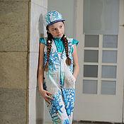 Работы для детей, ручной работы. Ярмарка Мастеров - ручная работа Летний комбинезон для девочки Дыхание моря. Handmade.