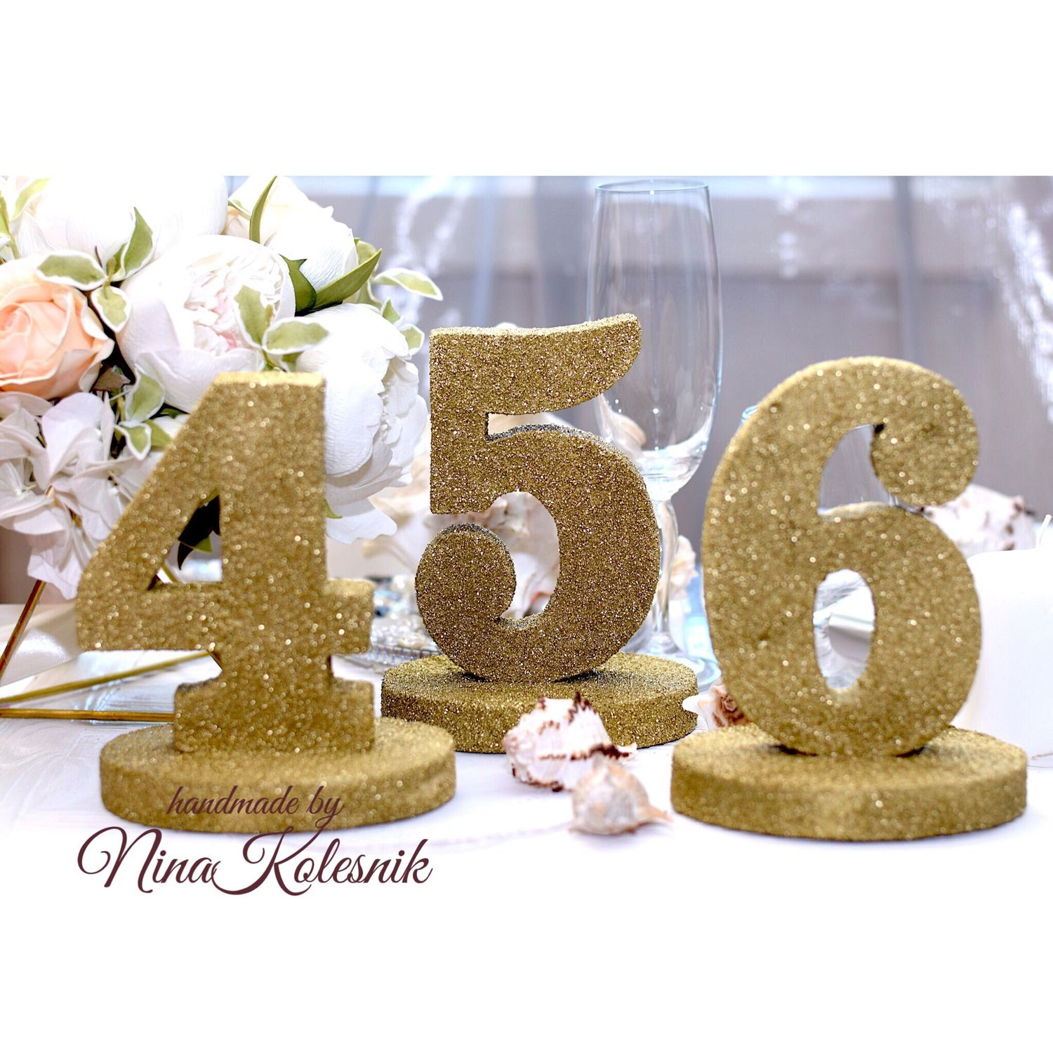 Wedding number plates on the tables the