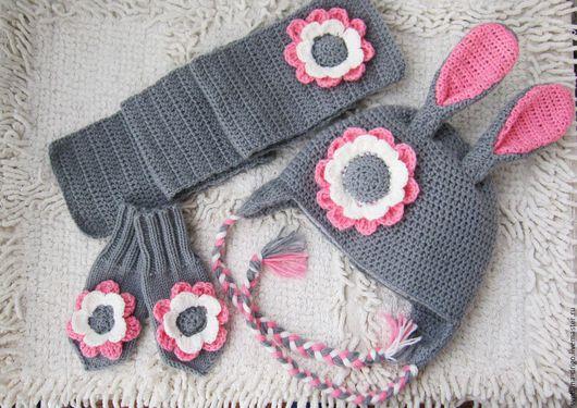 Одежда для девочек, ручной работы. Ярмарка Мастеров - ручная работа. Купить Комплект для девочки (шапочка, шарфик, варежки). Handmade. Комбинированный