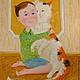 Люди, ручной работы. Ярмарка Мастеров - ручная работа. Купить любимая кошка. Handmade. Бежевый, ребенок, кошка, мальчик