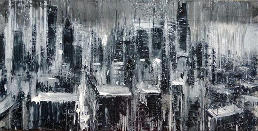 Город ручной работы. Ярмарка Мастеров - ручная работа. Купить ночной город 120х60 см. Handmade. Чёрно-белый