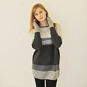 Одежда ручной работы. Ярмарка Мастеров - ручная работа туника из серых полос. Handmade.