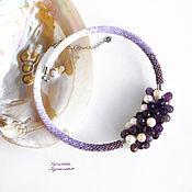 Украшения handmade. Livemaster - original item Choker necklace made of natural amethyst, pearls and beads lilac. Handmade.