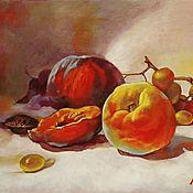 Картины и панно handmade. Livemaster - original item Painting still Life peaches and grapes photorealism on canvas. Handmade.