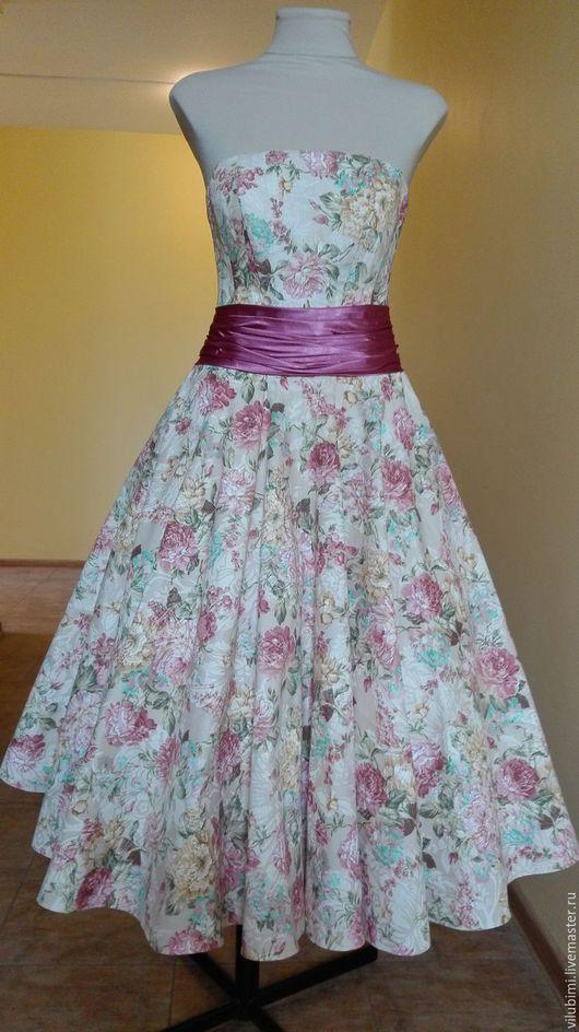 Платья ручной работы. Ярмарка Мастеров - ручная работа. Купить платье в стиле ретро ,,Пион,,. Handmade. Корсет утягивающий, сетка