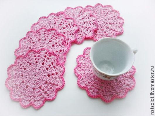 """Текстиль, ковры ручной работы. Ярмарка Мастеров - ручная работа. Купить Набор вязаных подставок """"Розовый рай"""" (6 шт.). Handmade."""