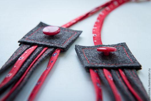 Колье, бусы ручной работы. Ярмарка Мастеров - ручная работа. Купить Бусы текстильные. Handmade. Разноцветный, бусы текстильные, шерсть