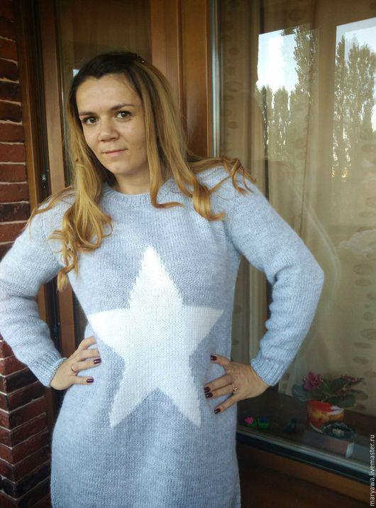 """Кофты и свитера ручной работы. Ярмарка Мастеров - ручная работа. Купить Платье-свитер """"Звезда"""". Handmade. Серый, свитер вязаный"""