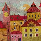 Картины и панно handmade. Livemaster - original item Embroidery.Wall panels. Dawn in Prague.. Handmade.