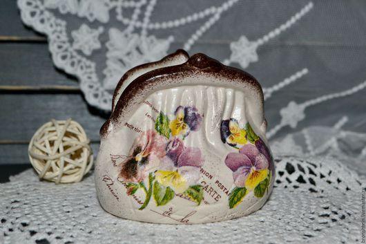 """Вазы ручной работы. Ярмарка Мастеров - ручная работа. Купить керамический кошелек сумка монетница - """"бабушкины фиалки"""". Handmade. Кошелек"""
