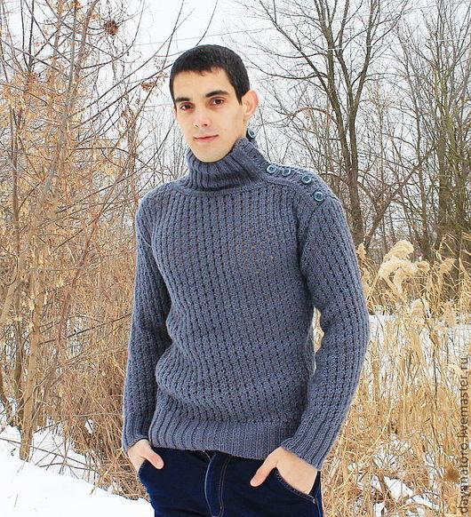 """Для мужчин, ручной работы. Ярмарка Мастеров - ручная работа. Купить Мужской свитер """"Серый волк"""". Handmade. Серый"""