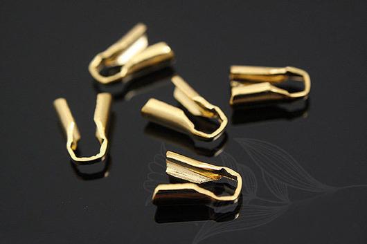 Зажим концевик для цепочки или шнура, латунь с позолотой. Фурнитура из Южной Кореи.