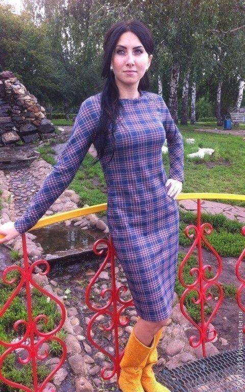 Платья ручной работы. Ярмарка Мастеров - ручная работа. Купить Платье в клеточку. Handmade. Синий, платье в клетку, платье женское
