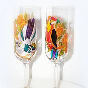 """Посуда ручной работы. Ярмарка Мастеров - ручная работа Фужеры для шампанского """"Тропические птицы"""". Handmade."""