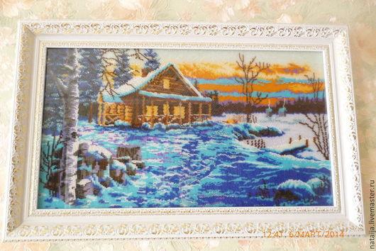 Пейзаж ручной работы. Ярмарка Мастеров - ручная работа. Купить Зимний вечер. Handmade. Зима, пейзаж, картина в подарок, бисер
