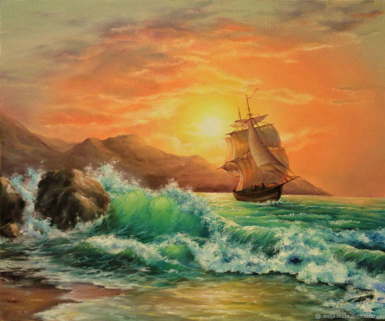 Картина `Море. Корабль` масло, холст Оксана Звонецкая