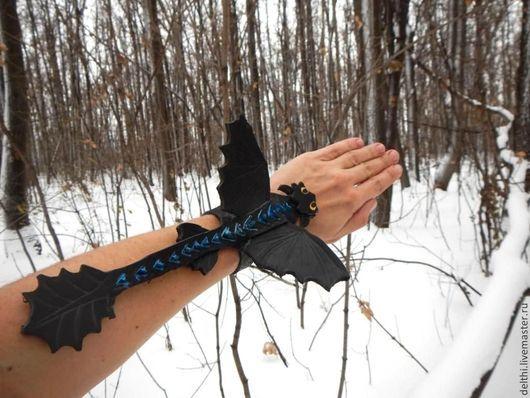 Браслеты ручной работы. Ярмарка Мастеров - ручная работа. Купить Кожаный фигурный браслет Дракон Ночная фурия. Handmade.