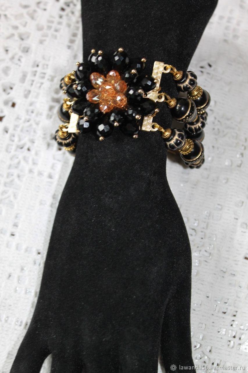 Bracelet made of black beads with gold lettering, Bead bracelet, Krasnoyarsk,  Фото №1
