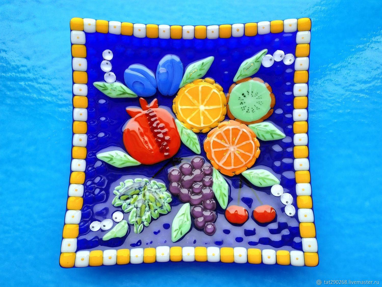Square colored dish in fusing technique, Plates, Kazan,  Фото №1