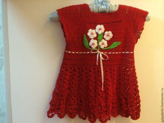 Одежда для девочек, ручной работы. Ярмарка Мастеров - ручная работа. Купить Детское вязаное платье. Handmade. Ярко-красный