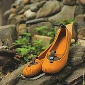 """Обувь ручной работы. Ярмарка Мастеров - ручная работа """"Осени янтарь"""" туфельки балетки валяные. Handmade."""