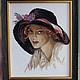 Люди, ручной работы. Ярмарка Мастеров - ручная работа. Купить Картина вышитая крестиком Портрет дамы в шляпе. Handmade.