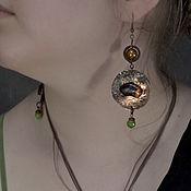Украшения handmade. Livemaster - original item Copper earrings with natural amber, jasper and agate. Handmade.