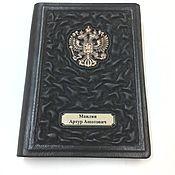 """Канцелярские товары handmade. Livemaster - original item Обложка на паспорт """"Ваше величество"""" из натуральной черной кожи. Handmade."""