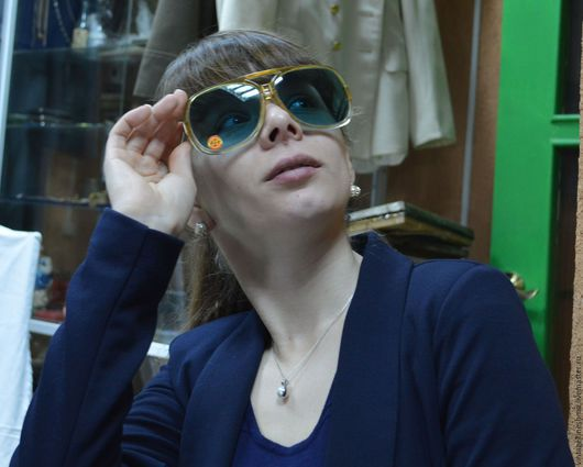Очки ручной работы. Ярмарка Мастеров - ручная работа. Купить Очки винтаж дамские голубое стекло 60-е года. Handmade.