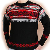 Одежда handmade. Livemaster - original item Men`s knitted pullover with Norwegian pattern Christmas wool. Handmade.