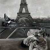 Картины и панно ручной работы. Ярмарка Мастеров - ручная работа Встреча в Париже (20 х 30 см). Handmade.