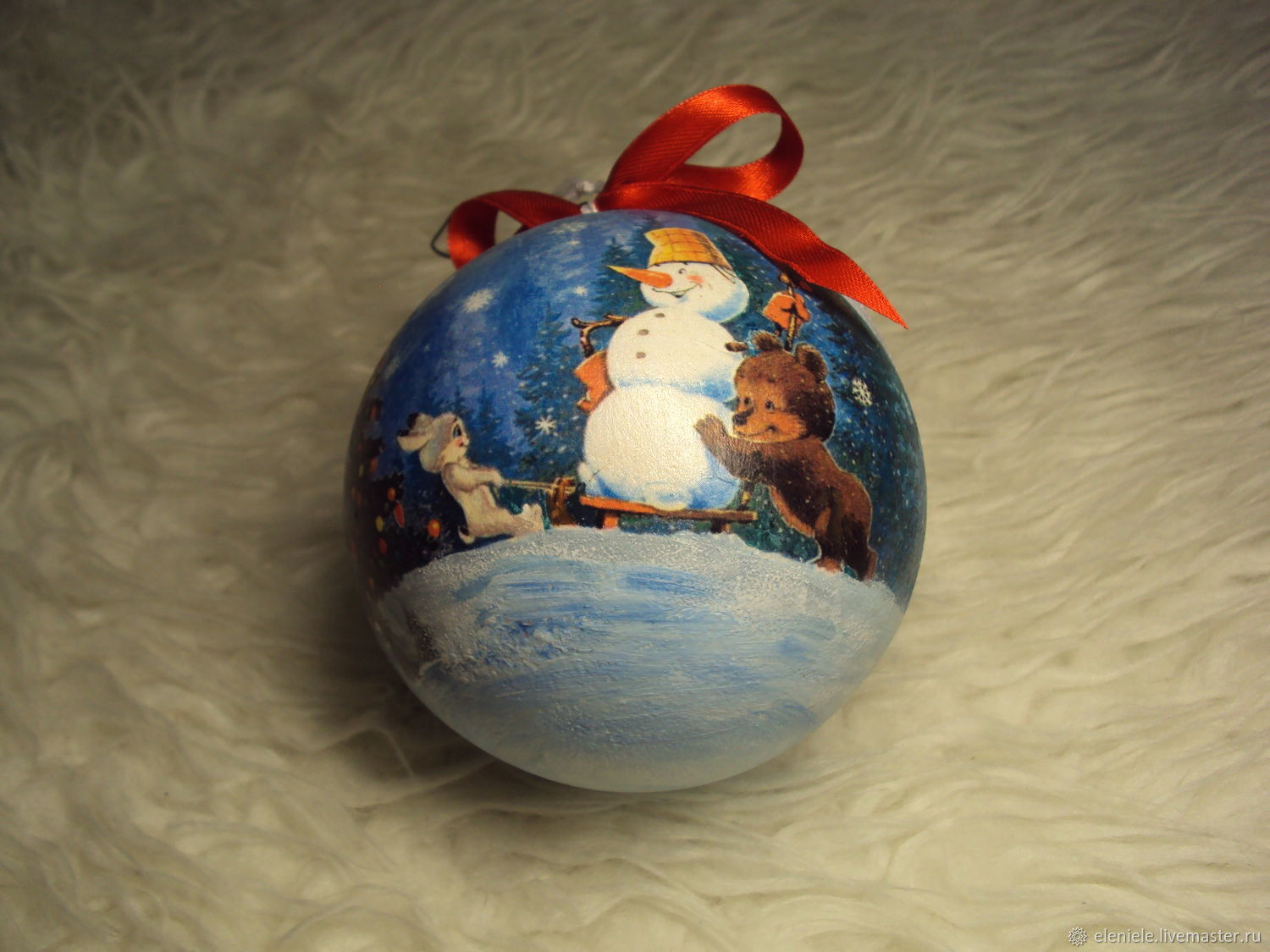 Ball 'Soviet card' decoupage logo, Christmas decorations, Moscow,  Фото №1