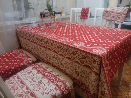 Текстиль, ковры ручной работы. Ярмарка Мастеров - ручная работа. Купить Набор Льняная скатерть+4 салфетки. Handmade. Ярко-красный