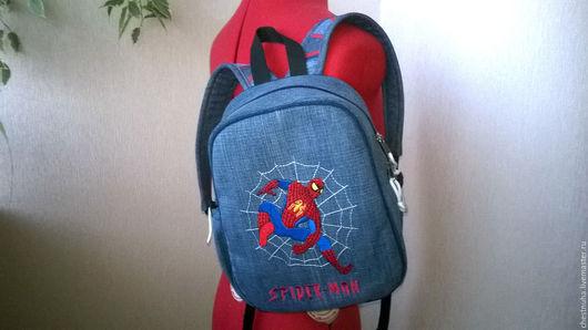 Рюкзаки ручной работы. Ярмарка Мастеров - ручная работа. Купить Рюкзак джинсовый детский Spiderman. Handmade. Синий, для мальчиков